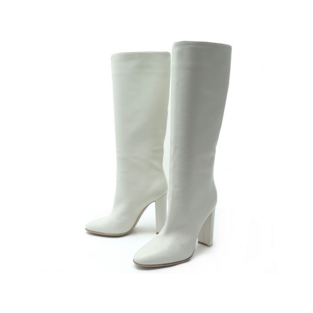 CHAUSSURES GIANVITO ROSSI 81726 BOTTES A TALONS 37 CUIR BLANC WHITE BOOTS 1265€
