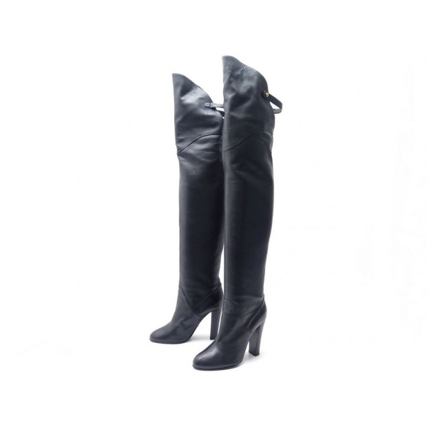 CHAUSSURES SERGIO ROSSI 7270 BOTTES CUISSARDES A TALONS 37 CUIR NOIR BOOTS 1200€