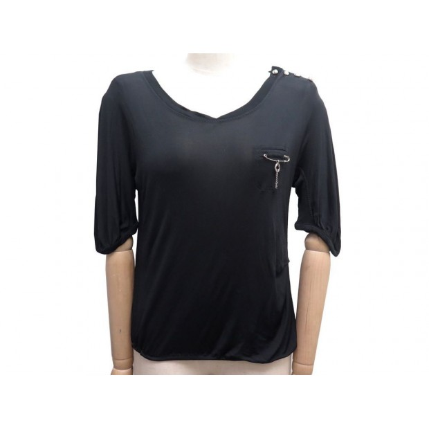NEUF TSHIRT LOUIS VUITTON TAILLE 38 M NOIR EPINGLE BRELOQUE BLACK TOP 490€
