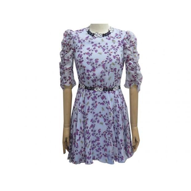 ROBE GIAMBA FLORAL PRINT PG5201 42 IT 38 FR EN SOIE BLEU BLUE SILK DRESS 1305€