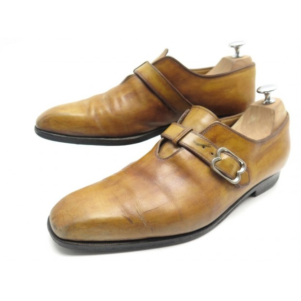 CHAUSSURES BERLUTI MOCASSINS A BOUCLE 9.5 43.5 CUIR MARRON LEATHER SHOES 1530€