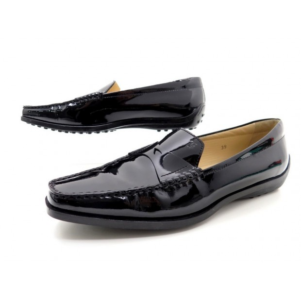 NEUF CHAUSSURES TOD'S GOMMINO 39 MOCASSINS EN CUIR VERNIS NOIR LOAFER SHOES 320€