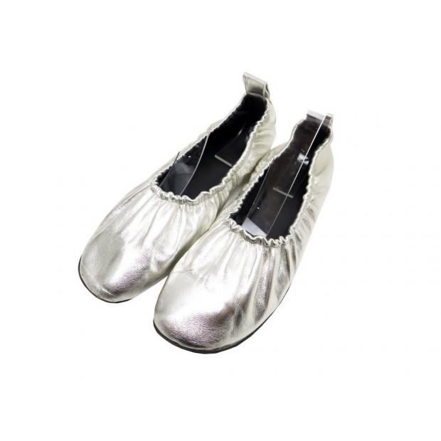 CHAUSSURES CELINE SOFT BALLERINES 38.5 EN CUIR ARGENTE SILVER BALLET SHOES 570€