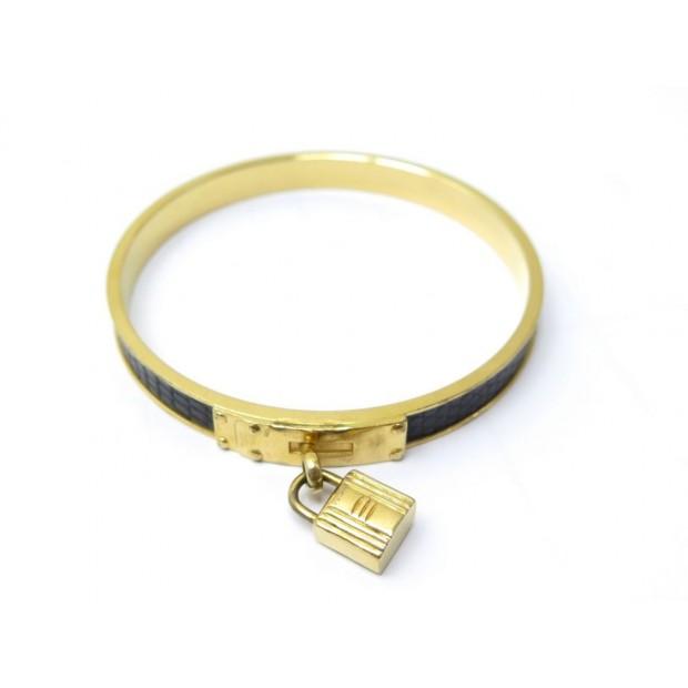 BRACELET HERMES CADENAS KELLY 20 CM METAL DORE & CUIR LEZARD NOIR GOLDEN 490€
