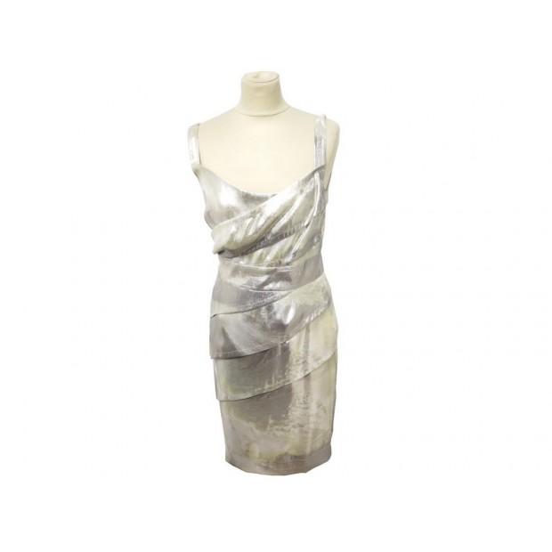 NEUF ROBE FENDI 42 L FEMME EN SOIE ARGENTEE SILVERED SILK DRESS 2000€