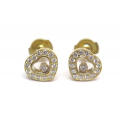 NEUF BOUCLES D'OREILLES CHOPARD HAPPY DIAMONDS 831084 OR JAUNE & DIAMANTS 5745€