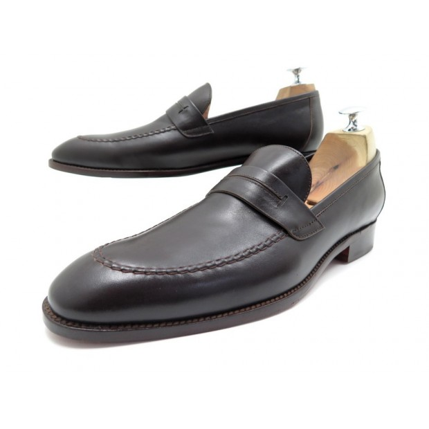 NEUF CHAUSSURES HERMES MOCASSINS 43 CUIR MARRON BROWN LEATHER LOAFERS 760€