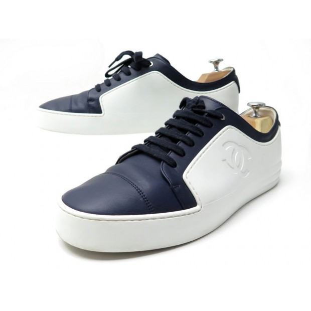 CHAUSSURES CHANEL BASKETS G32721 44 CUIR BLEU MARINE & BLANC SNEAKERS SHOES 750€
