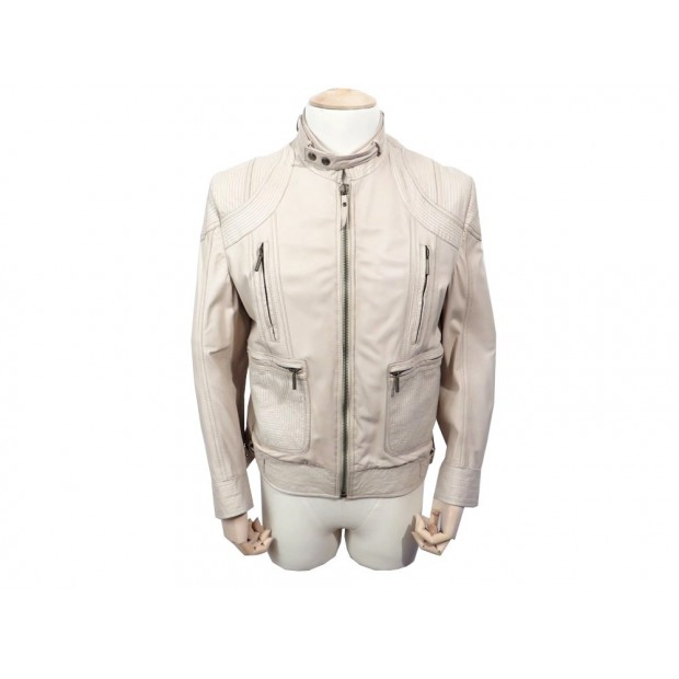 VESTE EN CUIR JUST CAVALLI HOMME L 52 54 BLOUSON BEIGE LEATHER JACKET 520€