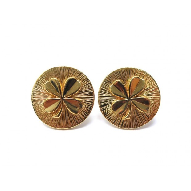 VINTAGE BOUCLES D'OREILLES CHANEL TREFLE METAL DORE CLOVER GOLDEN EARRINGS 420€