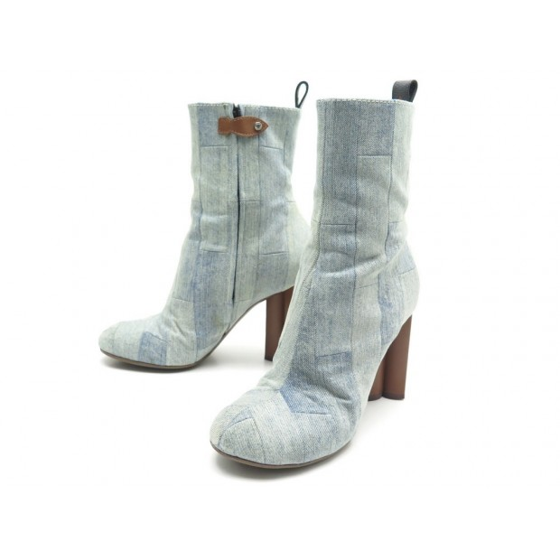 CHAUSSURES LOUIS VUITTON SILHOUETTE 1A4WCV 40 BOTTINES A TALONS DENIM BLEU 1160€