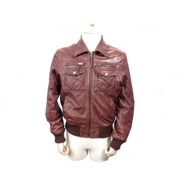 MANTEAU MARLBORO CLASSIC HOMMR 52 54 L BLOUSON EN CUIR MARRON LEATHER COAT 600€