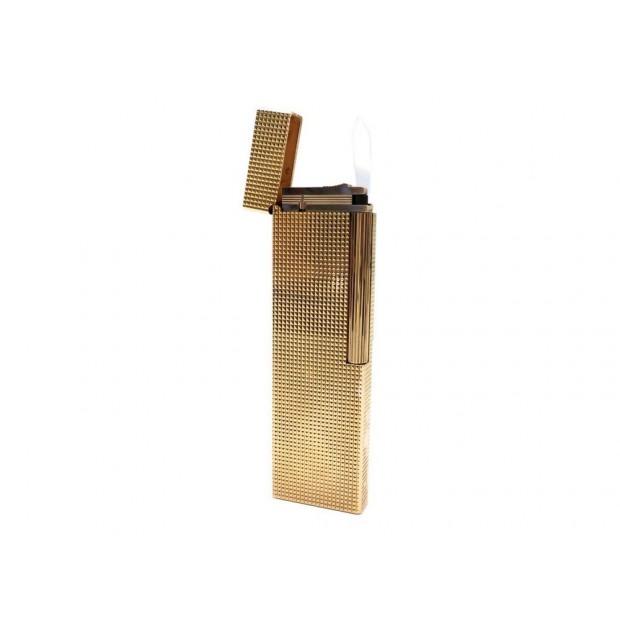 BRIQUET DE TABLE LONG ST DUPONT POINTE DE DIAMANT PLAQUE OR A GAZ LIGHTER