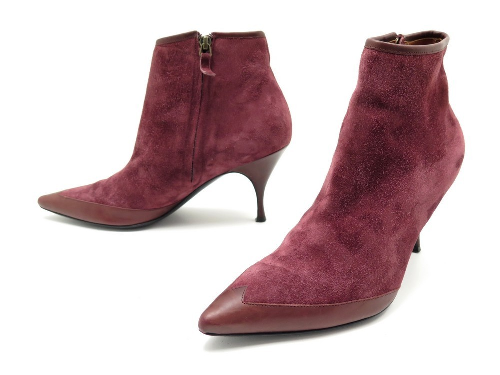 chaussures michel vivien 40 bottines en daim bordeaux
