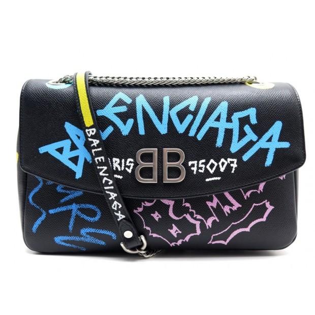 NEUF SAC A MAIN BALENCIAGA BB CHAIN GRAFFITI 516921 BANDOULIERE CUIR NOIR 1750€
