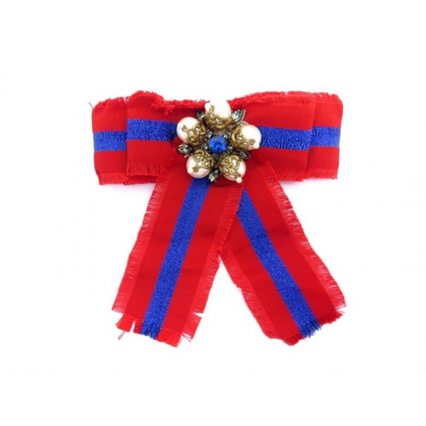 NEUF BROCHE GUCCI NOEUD BANDE WEB COTON ET PERLES ROUGE RED COTTON BROOCH 350€