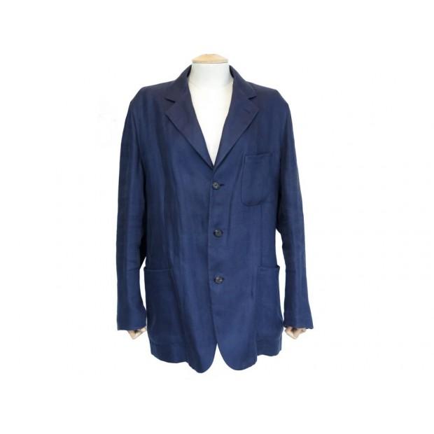 VESTE DE COSTUME HERMES G19503 50 M EN LIN BLEU MARINE BLUE LINEN JACKET 2550€