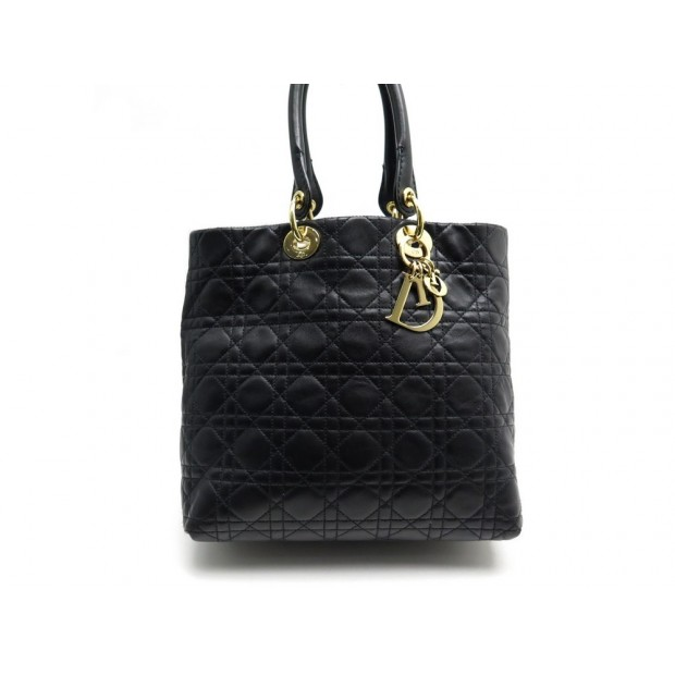 SAC A MAIN CHRISTIAN DIOR LADY EN CUIR CANNAGE NOIR BLACK LEATHER HAND BAG 3750€