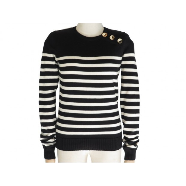 NEUF PULL YVES SAINT LAURENT MARINIERE BOUTONS EMAIL 463766 S 36 LAINE WOOL 890€
