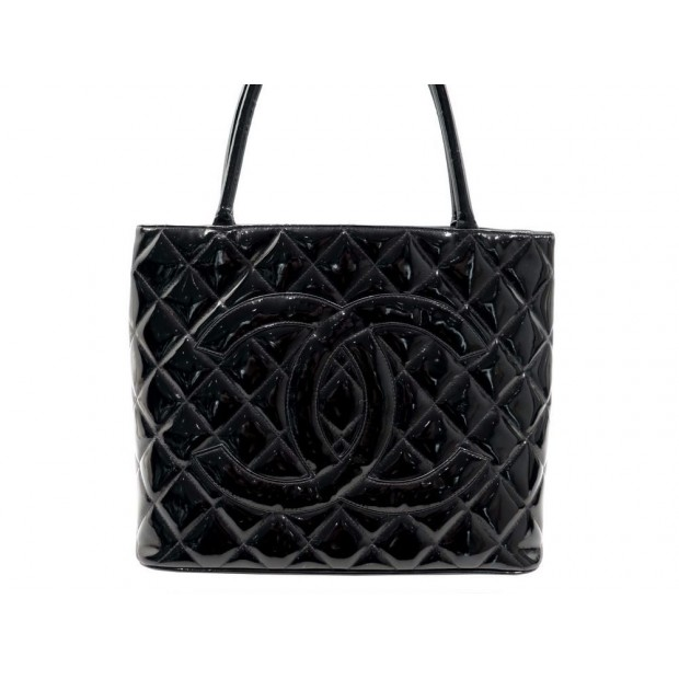 SAC A MAIN CHANEL SHOPPING MEDAILLON CUIR MATELASSE VERNI HAND BAG PURSE 2600€