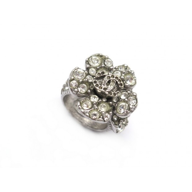 BAGUE CHANEL FLEUR TAILLE 52 EN METAL ARGENTE 16.7 GR SILVER FLOWER RING 590€