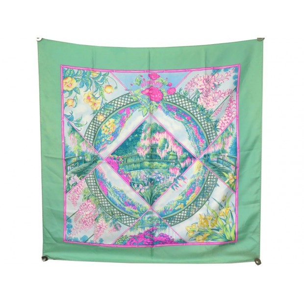 FOULARD HERMES GIVERNY LAURENCE BOURTHOUMIEUX EN SOIE VERT GREEN SILK SCARF 370€