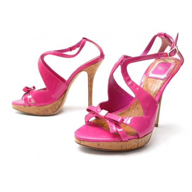 CHAUSSURES CHRISTIAN DIOR SANDALES A TALONS CUIR VERNIS ROSE SANDAL SHOES 790€