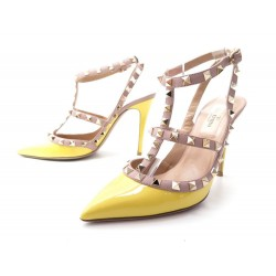CHAUSSURES VALENTINO ESCARPINS ROCKSTUD 37.5 IT 38.5 FR CUIR VERNIS SHOES 770€