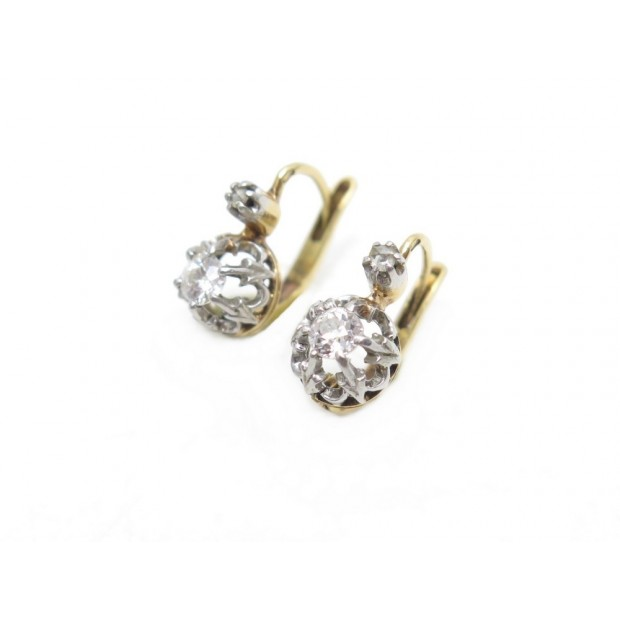 BOUCLES D'OREILLES DORMEUSES EN OR JAUNE & BLANC DIAMANTS 0.78CT 3.2 GR EARRINGS