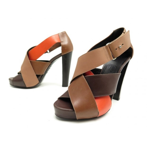 CHAUSSURES HERMES SANDALES A TALONS 37 EN CUIR MARRON BROWN SANDAL SHOES 790€