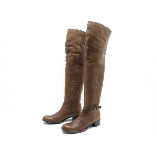 CHAUSSURES MIU MIU 38.5 BOTTES CUISSARDES FOURREES CUIR MARRON BOOTS SHOES 1195€