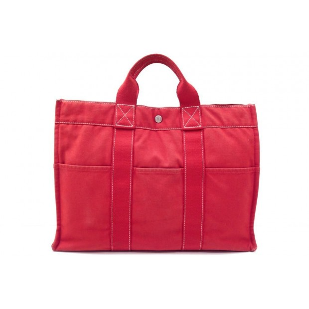 SAC A MAIN HERMES TOTO GM 42 CM CABAS TOILE COTON ROUGE RED TOTE HAND BAG 1300€