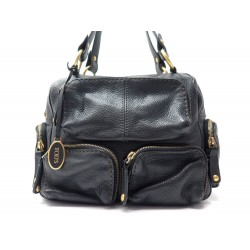 SAC A MAIN TOD S POCHES ZIPPEES MM CUIR GRAINE NOIR BLACK LEATHER HAND BAG 1100€
