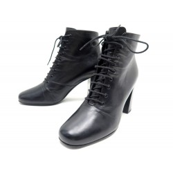 CHAUSSURES SAINT LAURENT BABIES 90 LACE-UP 404546 37 BOTTINES A TALONS CUIR 800€