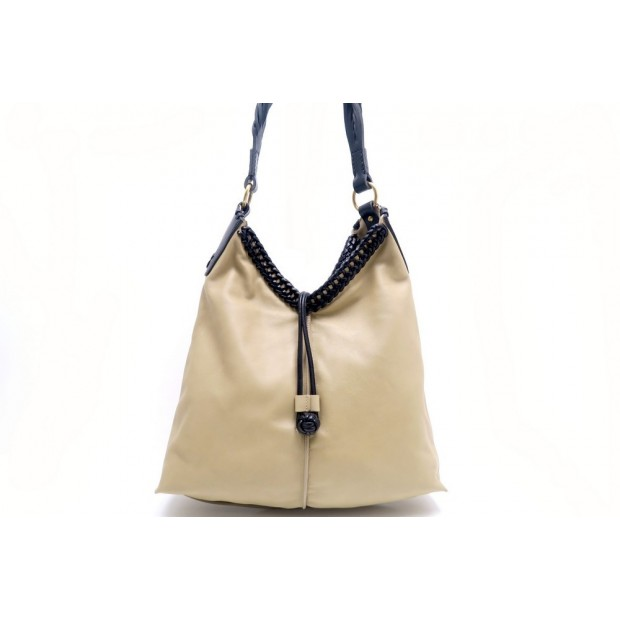 NEUF SAC A MAIN YVES SAINT LAURENT 266548 CABAS CUIR BEIGE NOIR PURSE BAG 1350€