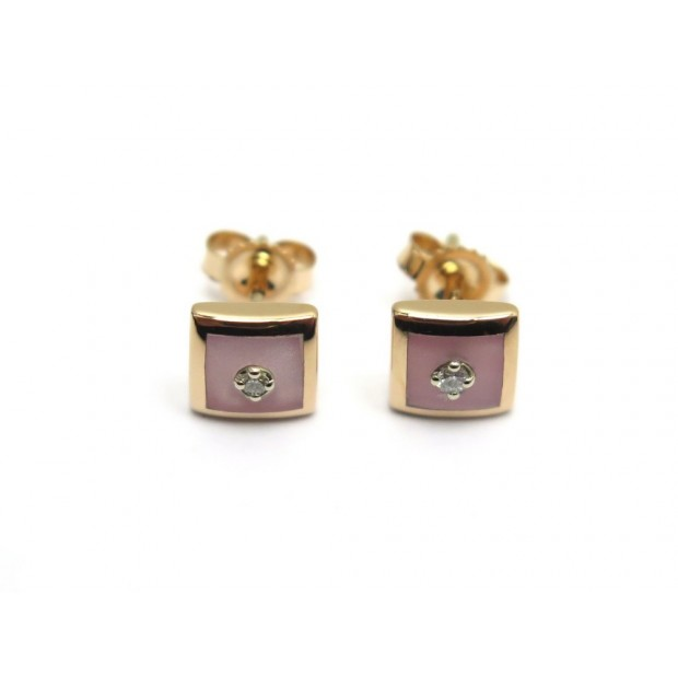 NEUF BOUCLES D'OREILLES GIGI CLOZEAU EN OR ROSE ET DIAMANTS PUCES EARRINGS 780€