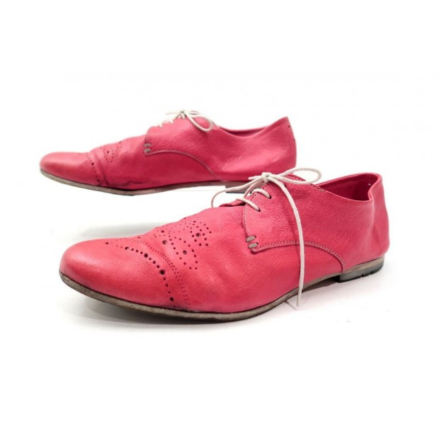 CHAUSSURES HESCHUNG DERBY 6.5 UK 39 FR CUIR SOUPLE PERFORE ROSE FEMME SHOES 275€