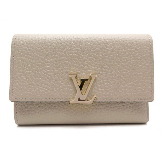 NEUF PORTEFEUILLE LOUIS VUITTON COMPACT CAPUCINES M62159 CUIR TAUPE WALLET 600€