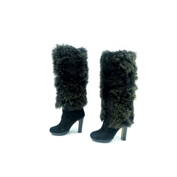 CHAUSSURES BOTTES A TALONS UGG COLLECTION 7 38 DAIM FOURREES FOURRURE BOOTS 950€