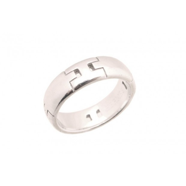 BAGUE HERMES ALLIANCE H T 51 EN OR BLANC 18K 6.6GR + ECRIN WHITE GOLD RING 1350€