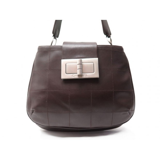 SAC A MAIN CHANEL FERMOIR MADEMOISELLE SQUARE MARRON