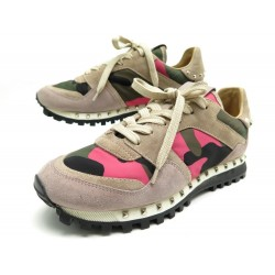 NEUF CHAUSSURES VALENTINO BASKETS ROCKRUNNER 38 TOILE CAMOUFLAGE SNEAKERS 550€