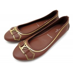 NEUF CHAUSSURES LOUIS VUITTON OXFORD 1A1KWX 37 BALLERINES CUIR MARRON SHOES 425€