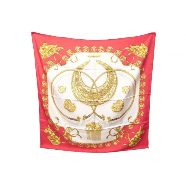 FOULARD HERMES LES CAVALIERS D'OR RYBALTCHENKO CARRE SOIE ROUGE SILK SCARF 350€