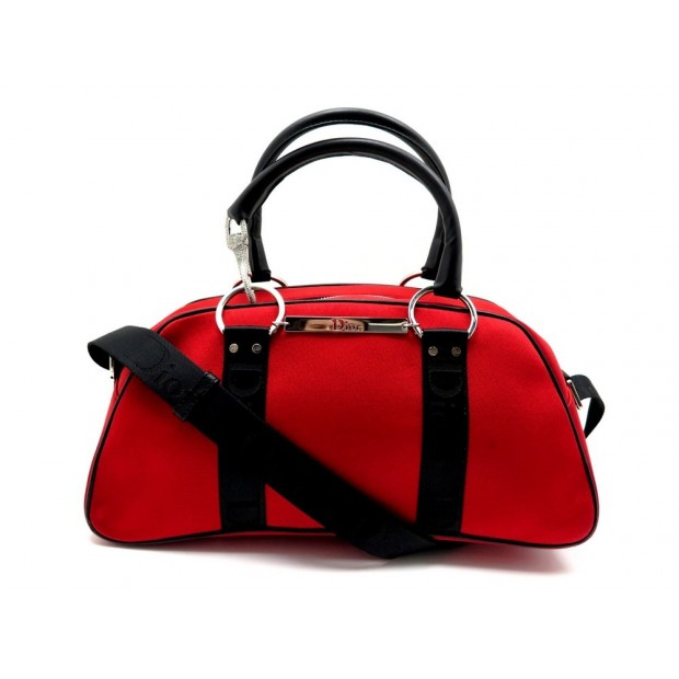 SAC A MAIN CHRISTIAN DIOR HARDCORE BOWLING STRASS TOILE ROUGE BOWLER PURSE 890€