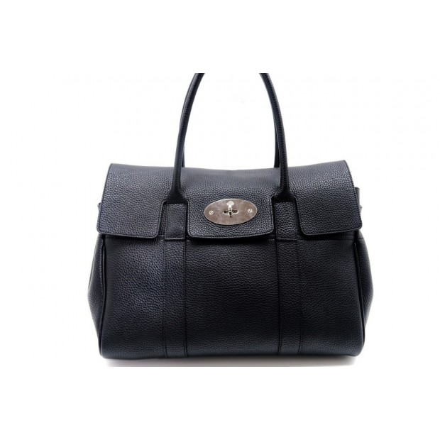 SAC A MAIN MULBERRY BAYSWATER EN CUIR GRAINE NOIR LEATHER HAND BAG PURSE 1370€