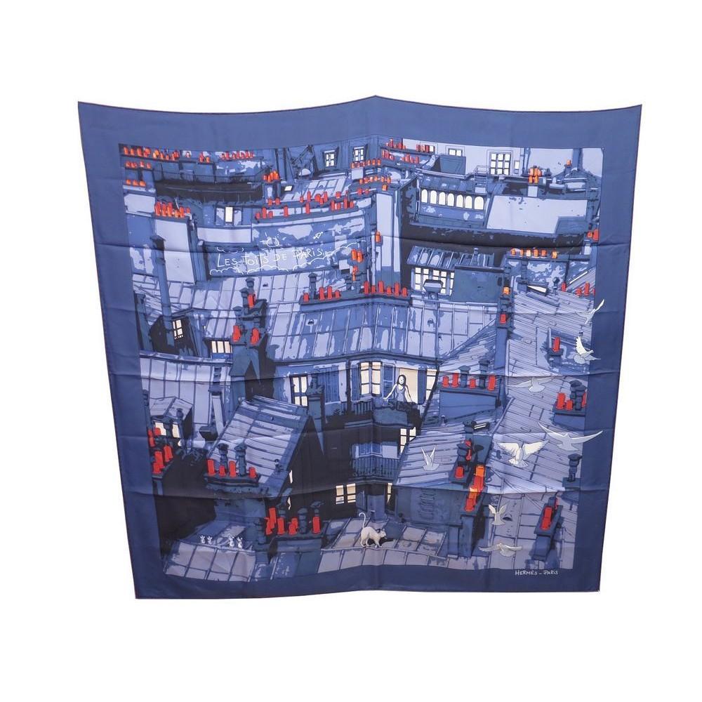 RARE FOULARD HERMES LES TOITS DE PARIS CARRE EN SOIE BLEU BOITE BLUE SILK  SCARF. Loading zoom c261fe71f31