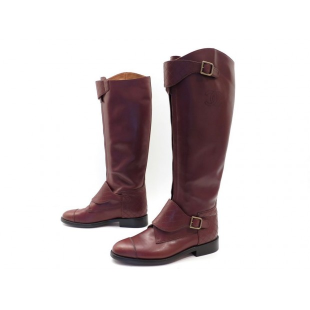 CHAUSSURES CHANEL 42 BOTTES CAVALIERES G28527 CUIR MATELASSE MARRON BOOTS 1500€