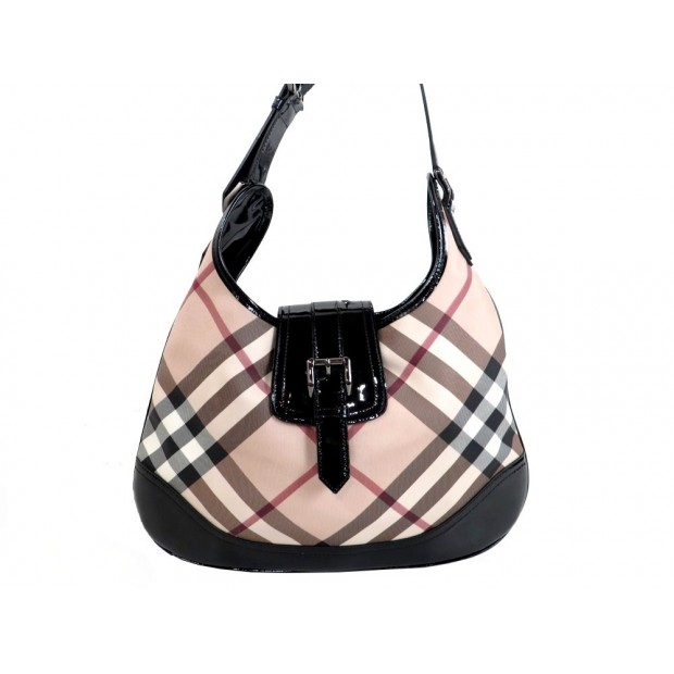 SAC A MAIN BURBERRY CABAS 40 TOILE TARTAN CHECK & CUIR VERNI HAND BAG PURSE 600€
