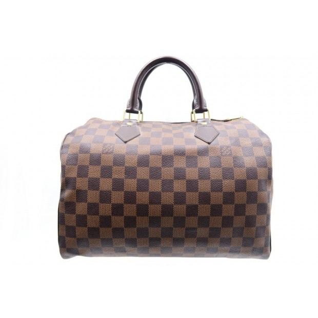 SAC A MAIN LOUIS VUITTON SPEEDY 30 CABAS EN TOILE DAMIER EBENE BOITE PURSE 760€